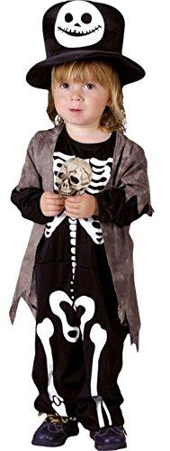 Fancy Ole - Jungen Boy Kostüm Overall Skeleton Skelett Skully Rascal, Schwarz, 98-104, 3-4 (Teufel Kostüm Jungen Kid)