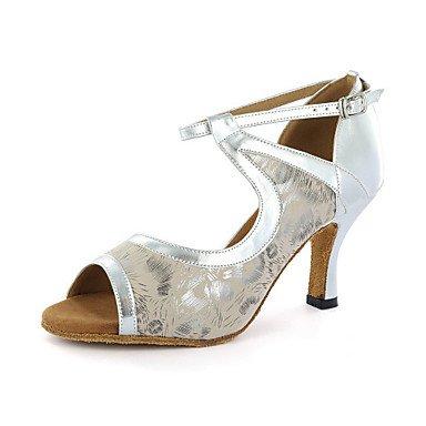 Silence @ pour femme Chaussures de danse latine en similicuir Chunky Talon Noir/bleu/blanc/argent beige
