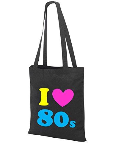 I Loveheart the 80s Tote Bag, Black