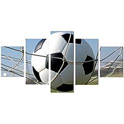Demino 5 Verkleidungs-Modular-Rahmen Fußball im Netz Leinwand gedruckt Ölgemälde Plakate Bilder Zeichnung Hauptwanddekor