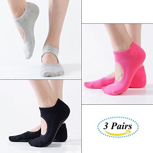 Vaxuia Unisex Adult Yoga Socken für Pilates, Ballett und Stange, 3 Paar Baumwollsocken, Einheitsgröße 36-43, grau, Rose-rot, schwarz, EU36-43