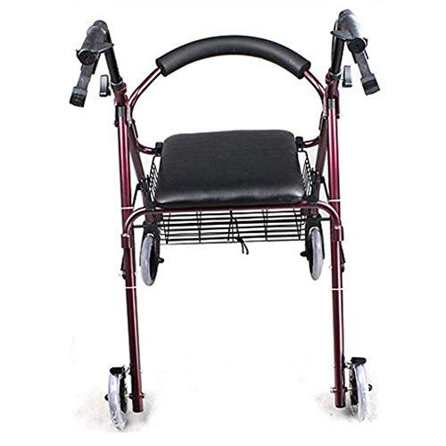 """QINAIDI Aluminium-Rollator-Rollator zum Zusammenklappen für Senioren und Behinderte mit einem Gewicht von 350 lb und 6\""""-Rädern"""