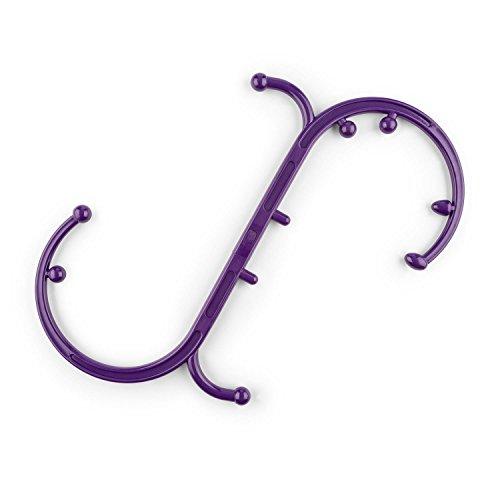 capital sports mr hook bastone per massaggi punti trigger (forma ergonomica a s ed o, 10 manopole, per contrazioni, crampi e fasce muscolari irrigidite) lilla