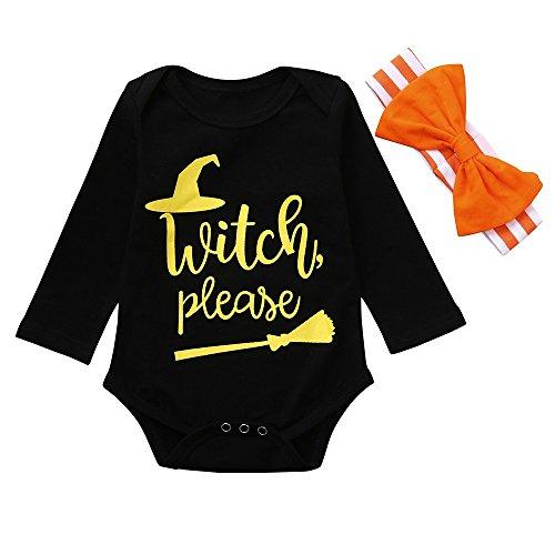 Baby Langarm Witch Please Brief Gedruckt Spitze Klettern Kostüm + Bogen Haarband 2PCS Halloween Kinder Baby Strampler + Streifen Bowknot Stirnbänder Set Outfit ()