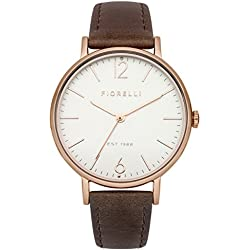 Fiorelli Women's Quartz Watch with White Dial Analogue Display and Brown Leather Strap FO005TRG