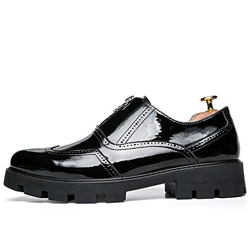 Beixi Herren PU Leder Oxfords Chunky Heel Front Zipper Dekoration Slip on Schuhe Elegante Bequeme Schuhe (Color : Schwarz, Größe : 40 EU) Pu Chunky Heel