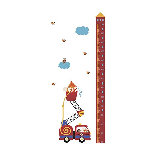 WHFLL Tiere Feuerrettung Auto Höhe Maßnahme Wandaufkleber Für Kinderzimmer Wachstum Chart Hause Tür Decor PVC Wandbild Wandkunst Aufkleber - Tür Wachstum Chart