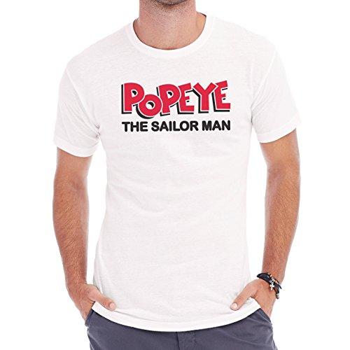 Popeye Kitchen Animation Sailor Man Herren T-Shirt Weiß