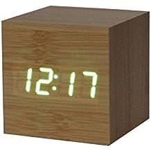 WINWINTOM Digital LED Bamboo Wooden Alarm Clock (Verde)