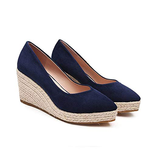 Suede Leopard Classic Women Wedge Shoes Pointed Toe Pumps high Heels Platform Mary Jane Office Lady Pumps Party Espadrilles Cute Blue 5.5 Blue Suede Wedge