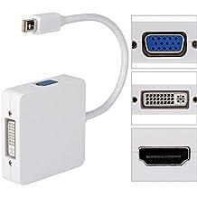 Zacro 3 en 1 Mini DisplayPort (Thunderbolt) a HDMI /DVI /VGA Adaptador Cable, para Apple Mac Macbook Pro Aire iMac Microsoft Surface Pro