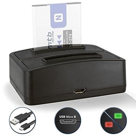 Double Chargeur (USB) NP-BN1 NPBN1 pour Sony Cyber-shot DSC-J… T… TX.. W.. WX.. QX.. - v. liste! - Cable Micro-USB inclus