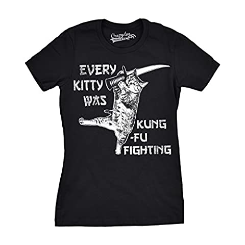 Crazy Dog TShirts - Womens Every Kitty Was Kung Fu Fighting Funny Kitten Cat Sword Music T shirt (Black) M - Femme