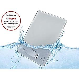 Soehnle Page Aqua Proof, digitale Küchenwaagen, wasserfest, spülmaschinengeeignet, Gewicht bis zu 10kg, Haushaltswaage mit Sensor-Touch, elektronische Waage inkl. Batterien, extraflaches Design