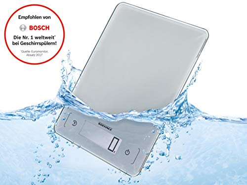 Soehnle Page Aqua Proof, digitale Küchenwaagen, wasserfest, spülmaschinengeeignet, Gewicht bis zu 10kg, Haushaltswaage mit Sensor-Touch, elektronische Waage inkl. Batterien, extraflaches Design (Digital-waage 10 Kg)