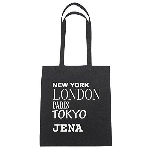 JOllify Jena di cotone felpato B1002 schwarz: New York, London, Paris, Tokyo schwarz: New York, London, Paris, Tokyo