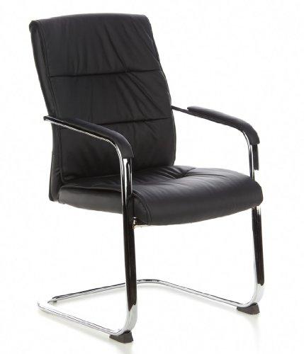 hjh OFFICE 668750 TRITON V (2 sillas/paquete doble) Silla de Confidente, piel sintética negro cromado