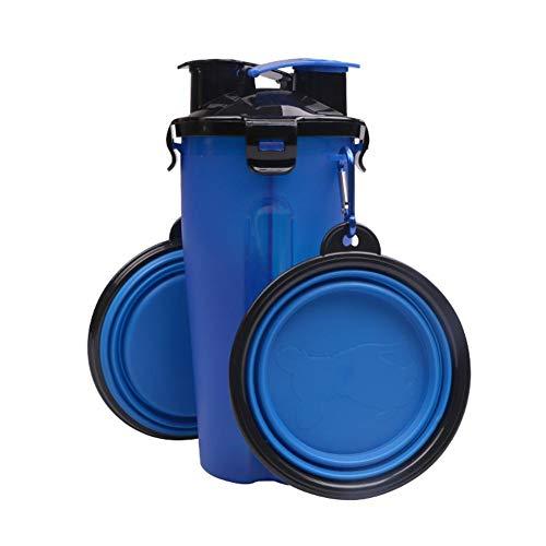 FOONEE 2in 1Hund Wasser Flasche, Outdoor Tragbare Hund Wasser Spender für Lebensmittel Aufbewahrung Flasche mit Reisenapf Travel Bowl Pet Supply für süße Hunde blau