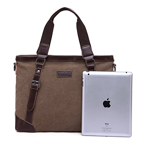 Outreo Borsa Tracolla Uomo Borse a Spalla Portadocumenti Laptop Borsello Vintage Tela Borsetta Sacchetto Messenger Bag Ventiquattrore per Studenti Tasca Sport Tasche Canvas Marrone
