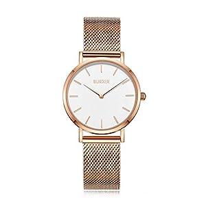 Burker Ruby – Damenuhr   38mm Uhr für Damen mit Ziffernblatt   Frauen Quarz Armbanduhr wasserdicht (30M)   Kleines Flaches Watch Gehäuse – Uhren Armband inklusive