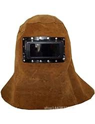 TYXHZL Máscara De Soldadura Soldador De Cara De Cuero Puro Chal De Protección Tapa Tubo Argón