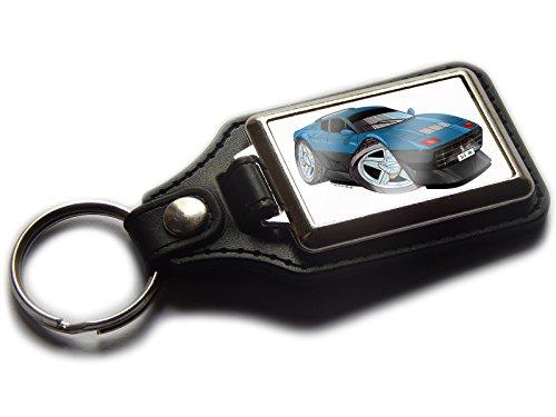 Ferrari 512BB Classic Sport Auto Premium Koolart Leder und Chrom Schlüsselanhänger wählen Sie eine Farbe., Blue & Black -
