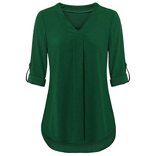 iYmitz Damen Solide Langarm Knopf Bluse Pullover Tops Shirt Mit Taschen(X5-Grün,EU-40/CN-XL)