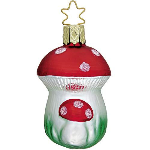 Inge-glas Merry Mushroom Pair German Glass Christmas Tree Ornament Free Box Merry Mushroom