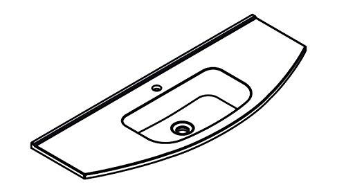 Lanzet S2.1 Glas-Waschtisch (Clou-System) inkl. LED / Glas-Weiß / 120 x 2 x 45,5 cm