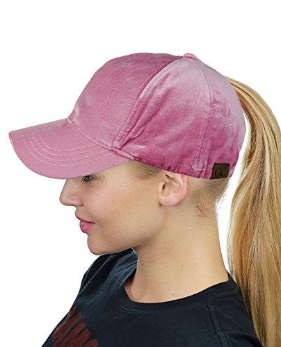 C.C Schirmmütze / Baseball-Kappe für hochsitzenden Pferdeschwanz oder Dutt, verstellbar, Samt, Rosa