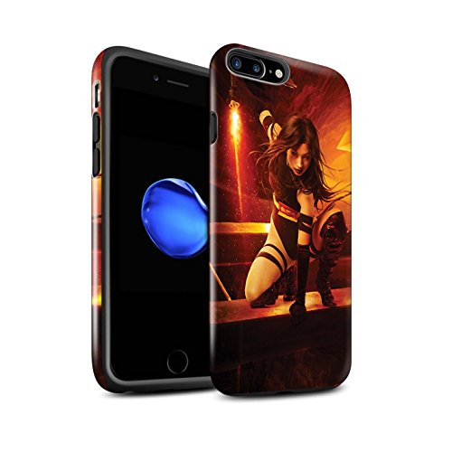 Officiel Elena Dudina Coque / Brillant Robuste Antichoc Etui pour Apple iPhone 7 Plus / Épée Magique Design / Super Héroïne Collection Feu et d'Acier