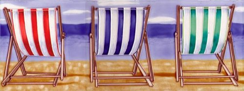 Deckchairs Ceramic Picture Tile by Kandy 6 x 16 by SC Leisure