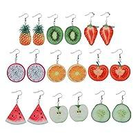 Xuniu Fruit Earrings 9 Pairs Cute Acrylic Fruit Drop Dangle Earrings Sets Tomato Kiwi Orange Jewelry (9 pairs) fruit
