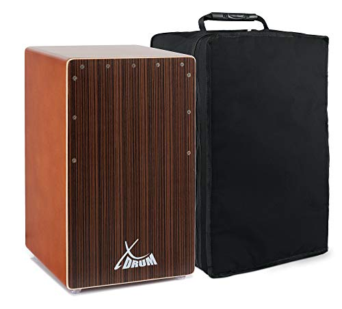 XDrum Cajon Primero Bass Port Cocoa Brown/Ebony (integrierter Bass Port, Korpus aus HPL (High Pressure Laminate), Schlagfläche: Ebony furniert, inkl. Tasche)