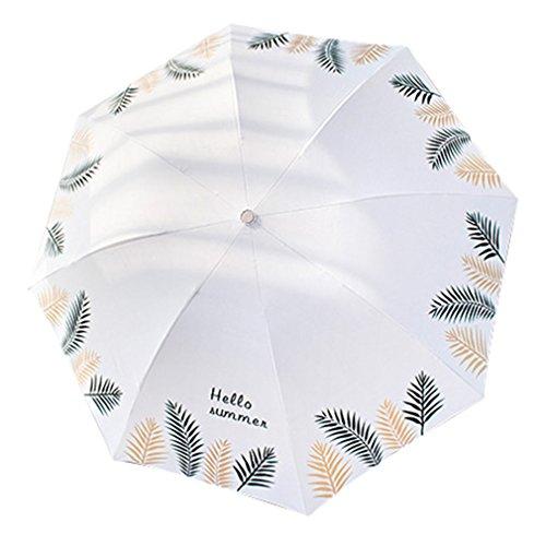 Guoke Kleine Frische Und Einfache Sen Retro Regenschirm Weibliche Regenschirm Dual-Use Falten Große Student Göttin Sonnenschirm, Gewöhnlichen - Vinyl - Weiß