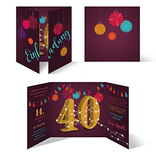 40 x Runder 40. Geburtstag individuelle Einladungskarten Einladungen - Girlande