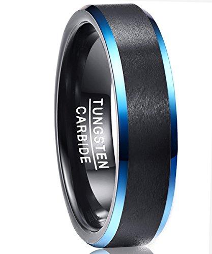 Nuncad Wolfram Ring Damen/Herren schwarz, Unisex Ring 6mm schwarz/blau, blauen Ränden, Comfort-Fit Design, Größe 54 (14) (Ring Blau Männer)