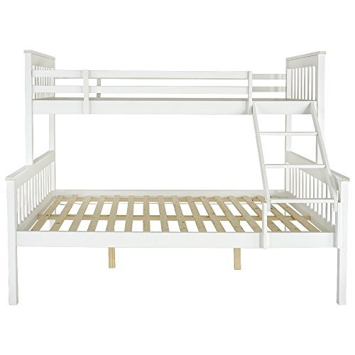 T.Mullen (UK STOCK) Bunk Beds Solid White Wooden Bunk Bed Frame Bedroom Home Sleeper Beds for Adult and Childrens