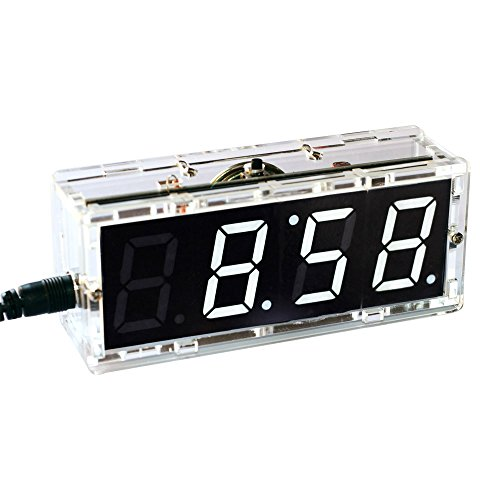 KKmoon Kompakte Digitale 4-stellige LED Talking Clock DIY Kit Licht Steuerung Temperatur Datum Zeit Transparent Vitrine(Weiß)