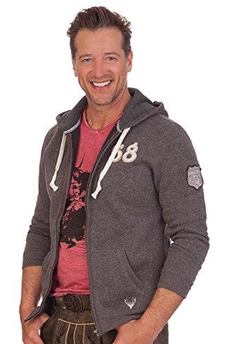 Trachten Sweaterjacke - HIRSCHKOPF - braun, grau, Größe 4XL
