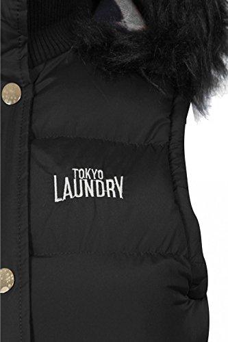 femmes Tokyo Laundry liberté fausse fourrure rembourré GILET CAPUCHE Noir