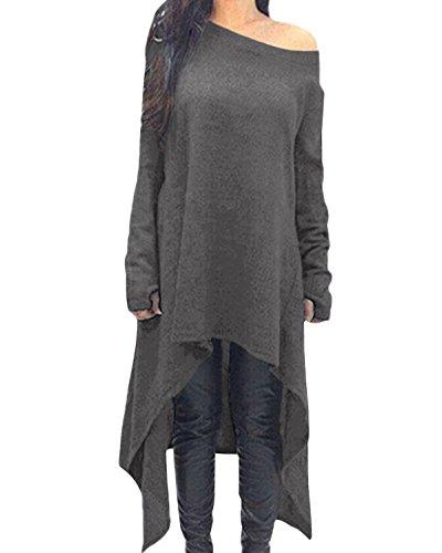 Zanzea Femme Robe Pull en Maille Manches Longues Tunique Grande Taille Hiver Robe Sweat Asymetrique Top Haut Oversize 01-Gris M