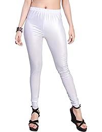 Comix Women Cotton Lycra Fabric Comfort Fit Ankle Length Plain Leggings (White,XL)