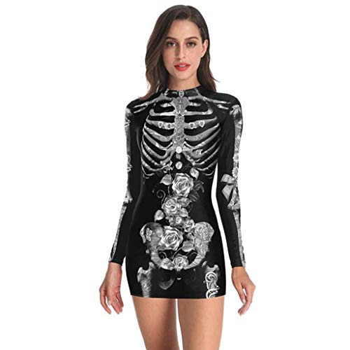 Punk Kostüm Pink Skeleton - ZuzongYr Damens Kleid ☾♥☽ Frauen Bodycon Kleid Halloween Punk Skeleton Bloodstain Print kalte Schulter Langarm Kleid Kurzes Minikleid