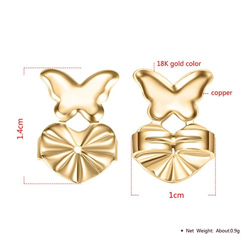 Zooarts 2Pairs Magic Earring Backs Hypoallergenic Fits all Post Earrings 1Pair Gold+1Pair Sterling Silver