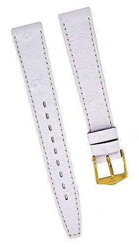Fortis Leder Uhrenarmband Weiß mit weißer Naht 14mm gold 8516
