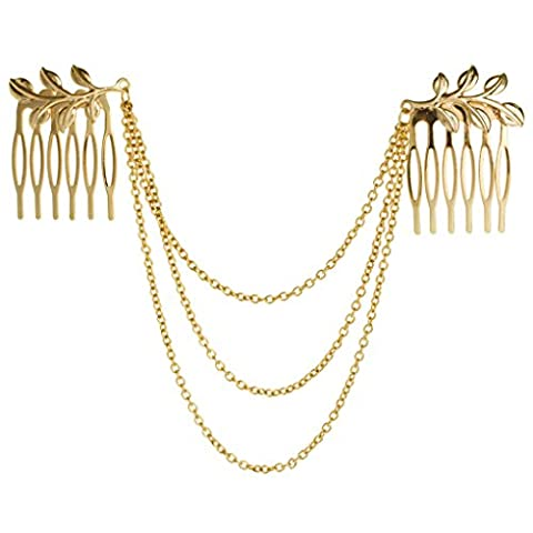 Bobury Gold Leaves 3-layers Chains Double Hair Comb Hair Claw Hair Clips Hair Jewelry