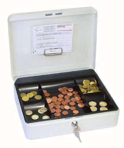 Wedo 145400H Geldkassette mit Geldnoten- und Belegeklammer, 5 -Fächer-Münzeinsatz, 30 x 24 x 9 cm) weiß