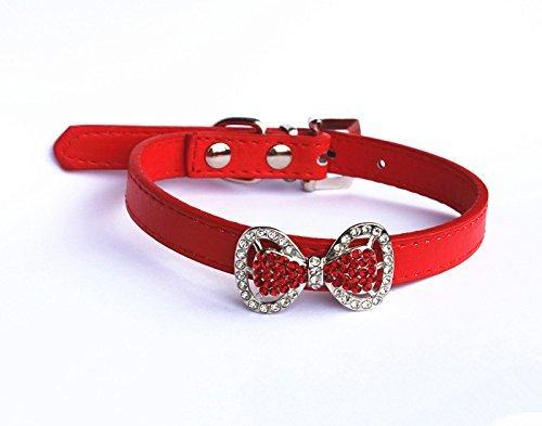lsband mit Fliege und Strasssteinen, für kleine oder mittelgroße Hunde, Katzen, Haustiere, weibliche Welpen, Chihuahua, Yorkie, Mädchen-Kostüm, leichte und verstellbare Schnalle ()