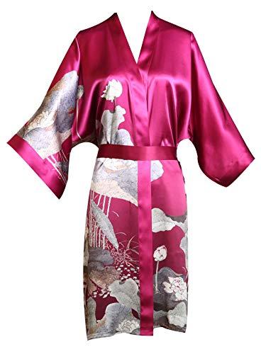 prettystern Damen Knie-lang Seide Kimono Wickel-Kleid Morgenmantel Robe Floral Print dunkel-pink - Florale Geisha Kostüm